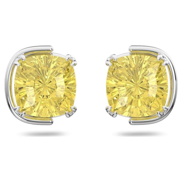 Pendientes de botón Harmonia, Cristales de talla cushion, Amarillo, Baño de rodio - Swarovski, 5616511