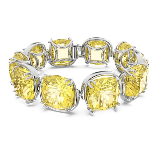 Pulsera Harmonia, Cristales de talla cushion, Amarillo, Baño de rodio - Swarovski, 5616513