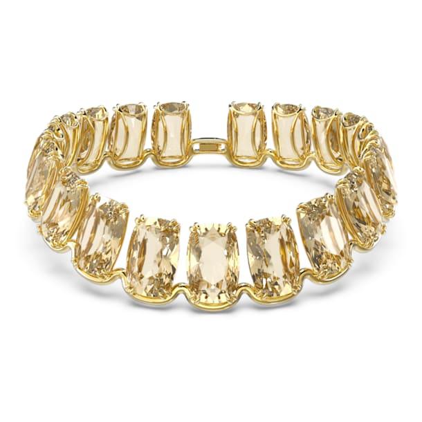 Gargantilha Harmonia, Grandes cristais flutuantes, Amarelo, Lacado a dourado - Swarovski, 5616516
