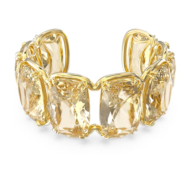 Bransoletka typu mankiet Harmonia, Duże kryształy poruszające się swobodnie, Żółty, Powłoka w odcieniu złota - Swarovski, 5616521