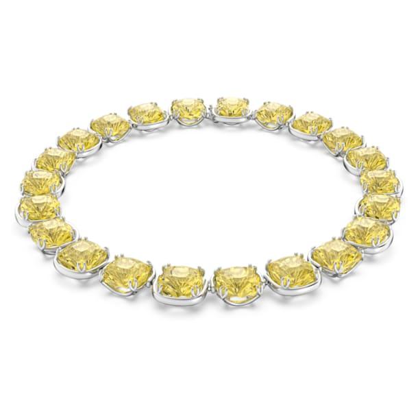 Gargantilla Harmonia, Cristales de talla cushion, Amarillo, Baño de rodio - Swarovski, 5616522