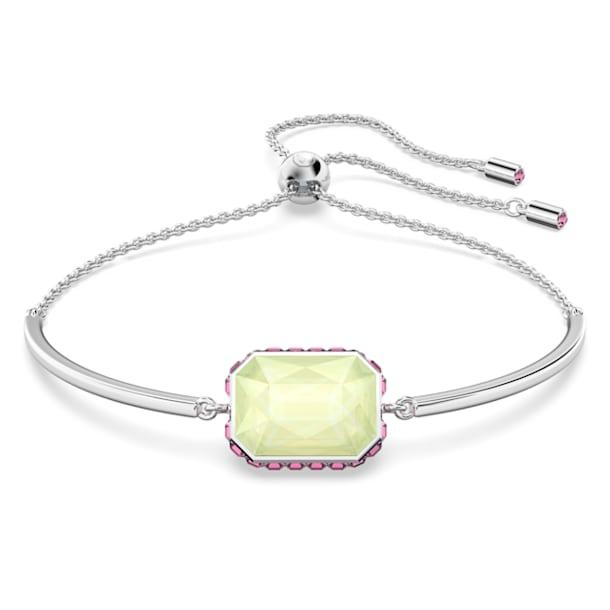 Orbita bracelet, Octagon cut crystal, Multicolored, Rhodium plated - Swarovski, 5616642