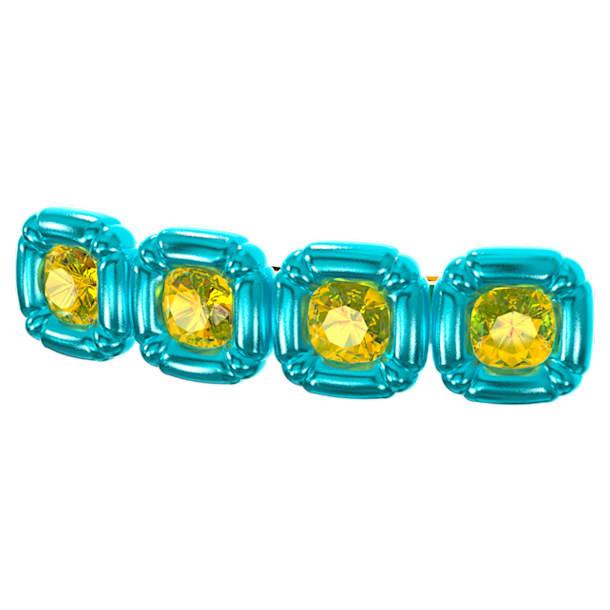 DLC002 hair clip, Cushion cut crystals, Blue, Gold-tone plated - Swarovski, 5617239