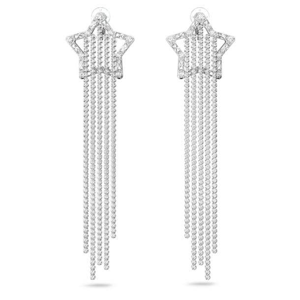 Stella clip oorbellen, Ster, Wit, Rodium toplaag - Swarovski, 5617755