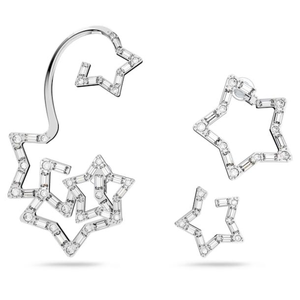 Stella ear cuff, Single, Set (3), Star, White, Rhodium plated - Swarovski, 5617757