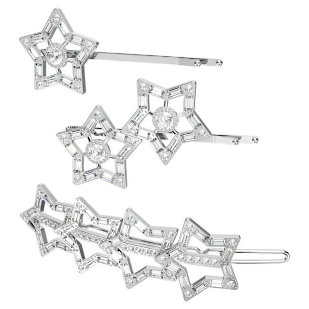 STA002 hair clip, Set (3), White, Rhodium plated - Swarovski, 5617759