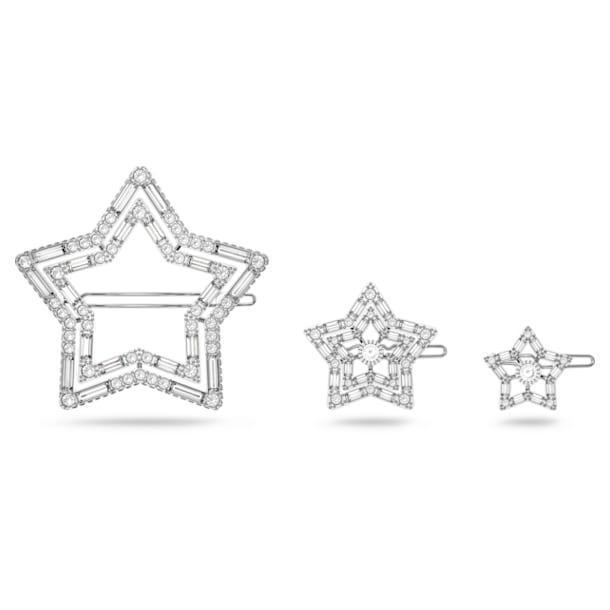 STA002 hair clip, Set (3), Star, White, Rhodium plated - Swarovski, 5617760