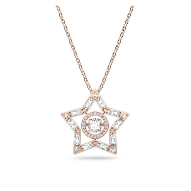 Stella pendant, White, Rose gold-tone plated - Swarovski, 5617766