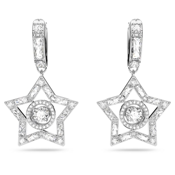 Stella karika fülbevaló, Fehér, Ródium bevonattal - Swarovski, 5617767