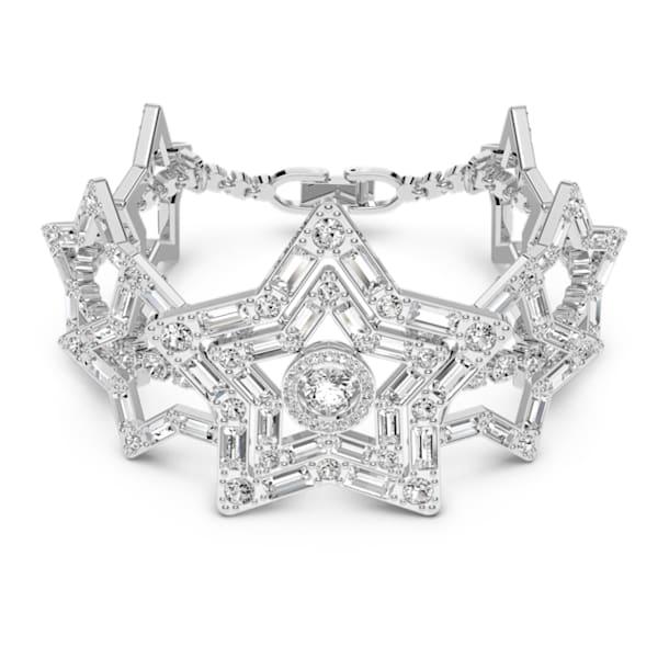 Pulsera Stella, Estrella, Blanco, Baño de rodio - Swarovski, 5617880