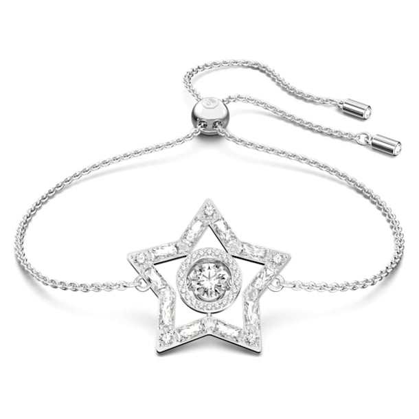 Stella bracelet, Star, White, Rhodium plated - Swarovski, 5617881