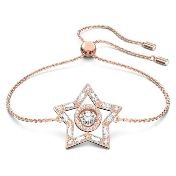 Stella bracelet, White, Rose gold-tone plated - Swarovski, 5617882