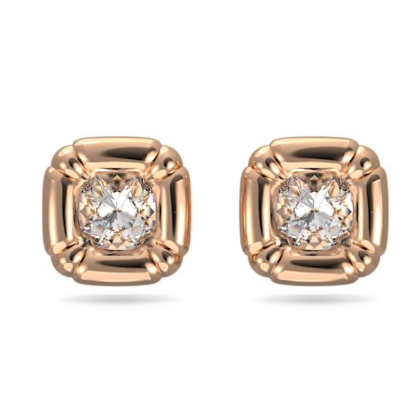 Kolczyki zapinane na sztyft Dulcis, Kryształy w szlifie poduszkowym, W odcieniu różowego złota - Swarovski, 5617910