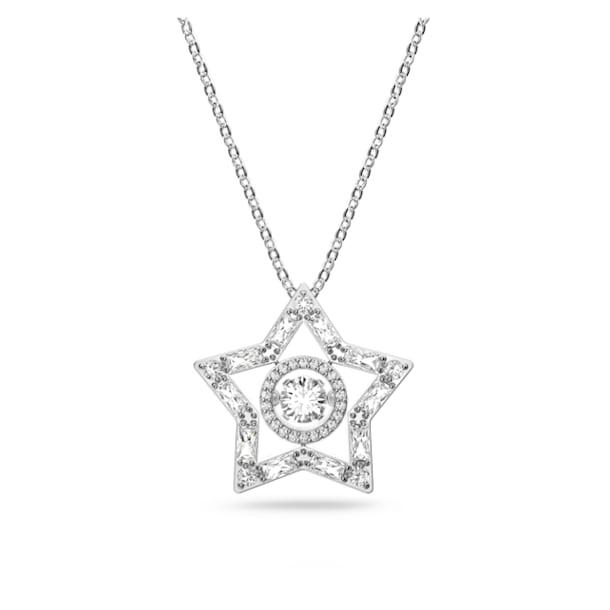 Μενταγιόν Stella, Λευκό, Επιμετάλλωση ροδίου - Swarovski, 5617919