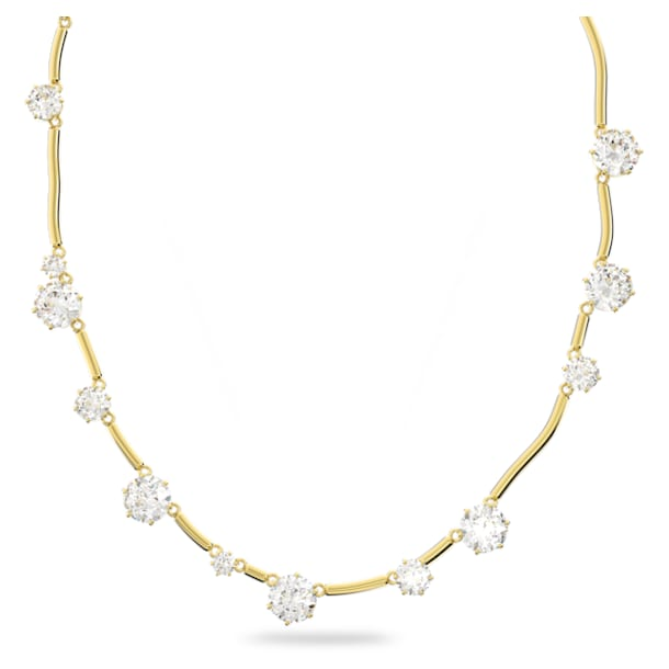 Constella 項鏈, 圓形切割水晶, 白色, 鍍金色色調 - Swarovski, 5618033