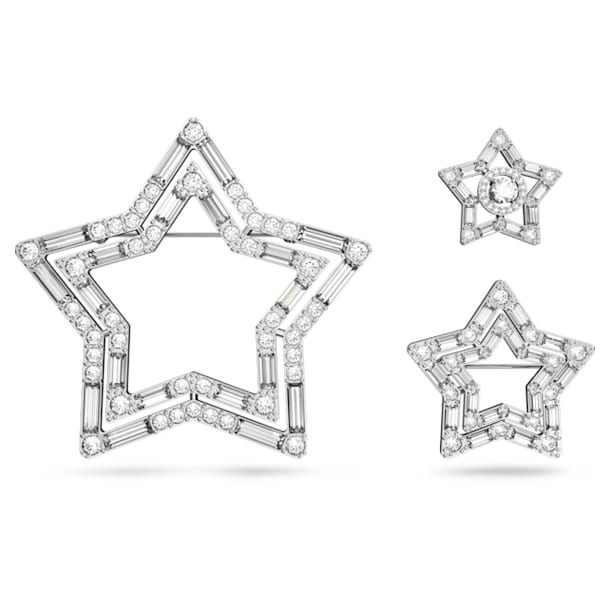 Stella broche , Set (3), Ster, Wit, Rodium toplaag - Swarovski, 5618048