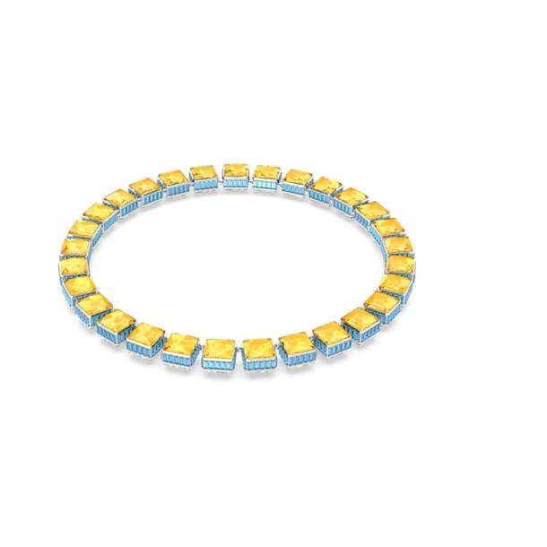 Orbita necklace, Square cut crystals, Multicoloured, Rhodium plated - Swarovski, 5618252