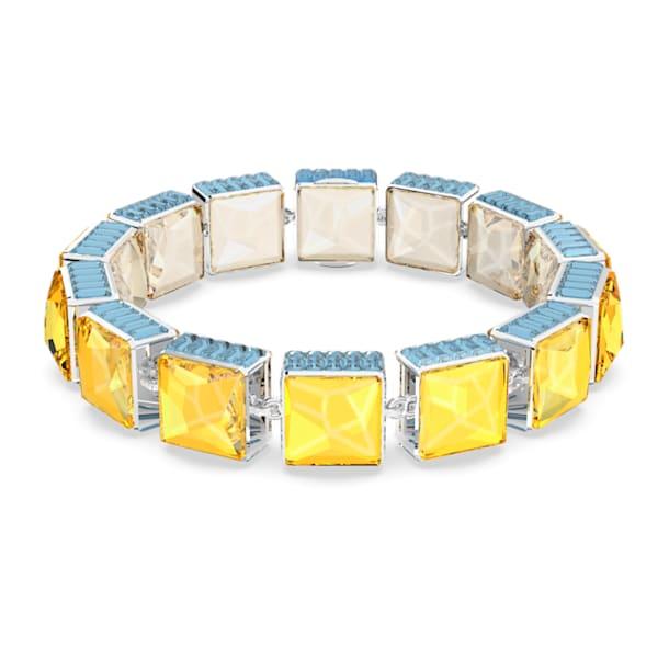 Orbita bracelet, Square cut crystals, Multicoloured, Rhodium plated - Swarovski, 5618253