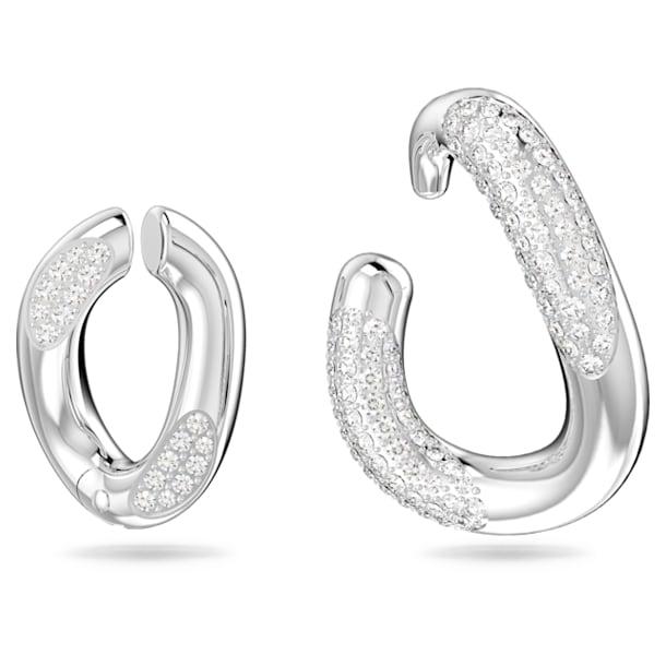 Dextera ear cuff, Single, Asymmetrical, Set (2), White, Rhodium plated - Swarovski, 5618303