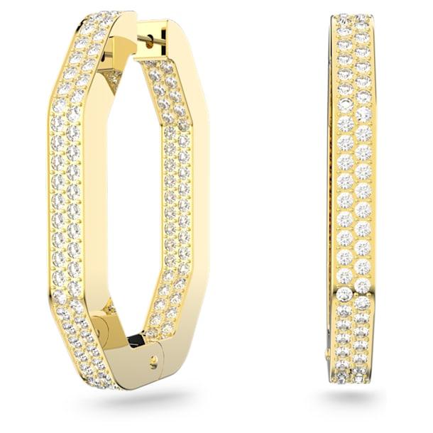 Dextera hoop earrings, Octagonal, Full pavé, Large, White, Gold-tone plated - Swarovski, 5618304