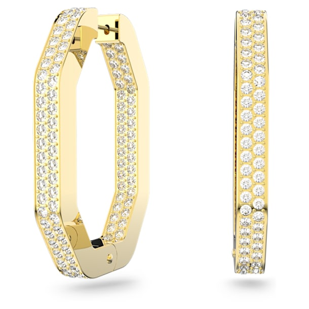 Dextera hoop earrings, Octagon, Pavé crystals, Large, White, Gold-tone plated - Swarovski, 5618304