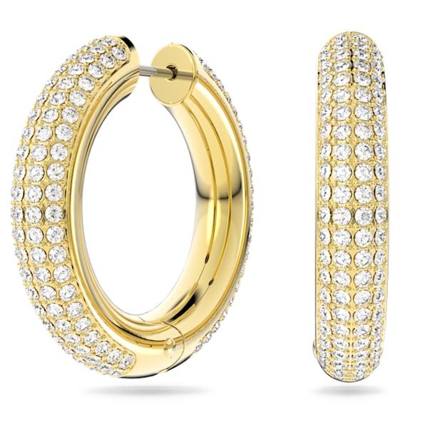 Dextera hoop earrings, Medium, White, Rhodium plated - Swarovski, 5618305