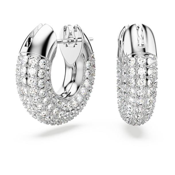 Dextera hoop earrings, Pavé, White, Rhodium plated - Swarovski, 5618306