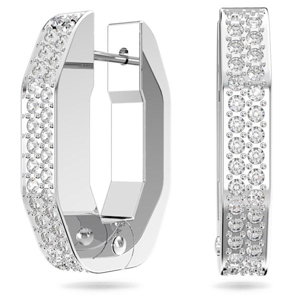 Dextera hoop earrings, Octagonal, Small, White, Rhodium plated - Swarovski, 5618307