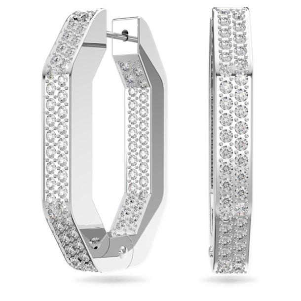Dextera hoop earrings, Octagonal, Medium, White, Rhodium plated - Swarovski, 5618308
