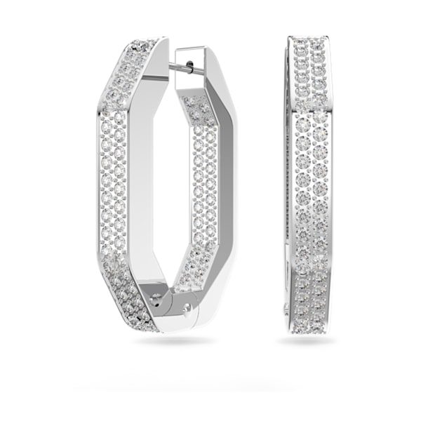 Kolczyki kreole Dextera, Kryształy w szlifie ośmiokątnym, w oprawie brukowej, Średnie, Biały, Powłoka z rodu - Swarovski, 5618308
