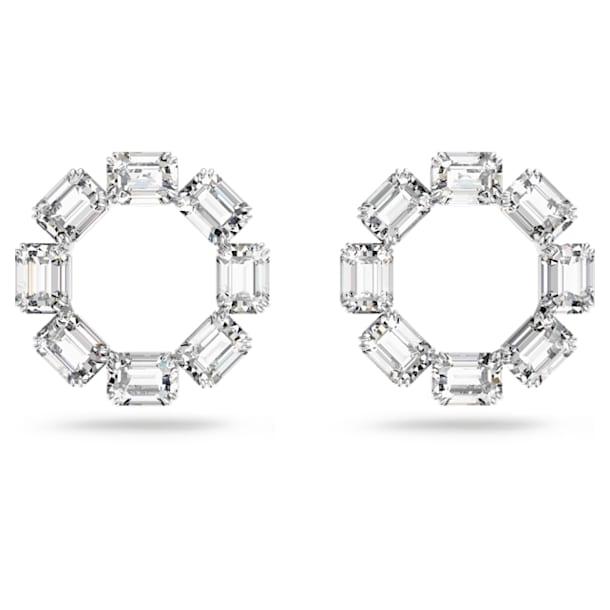 Millenia hoop earrings, Octagon cut crystals, White, Rhodium plated - Swarovski, 5618629