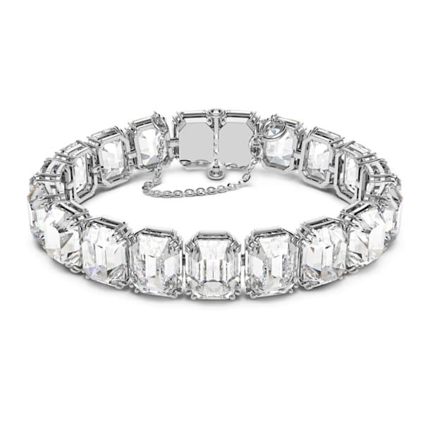 Pulsera Millenia, Cristales talla octogonal, Blanco, Baño de rodio - Swarovski, 5618699