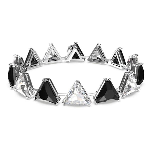 Millenia bracelet, Triangle cut crystals, Black, Rhodium plated - Swarovski, 5619154