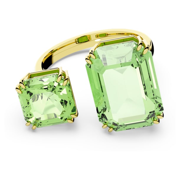 Millenia cocktail ring, Octagon cut crystals, Green, Gold-tone plated - Swarovski, 5619626