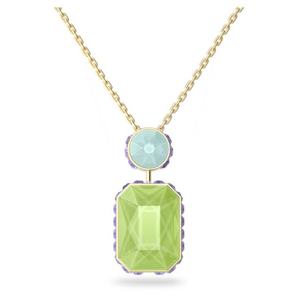 Orbita necklace, Octagon cut crystal, Multicolored, Gold-tone plated - Swarovski, 5619787