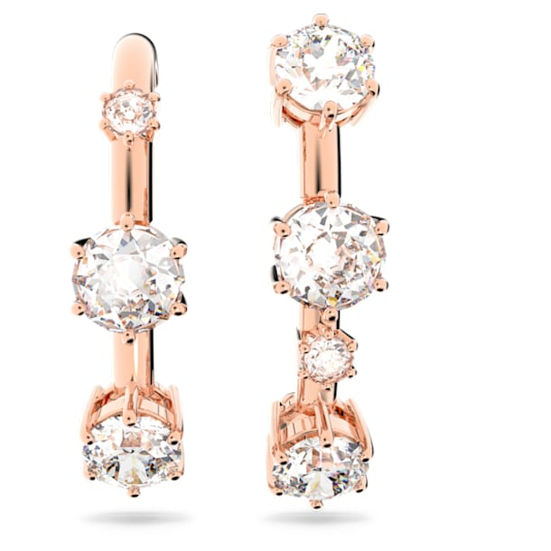Constella hoop earrings, White, Rose gold-tone plated - Swarovski, 5620130