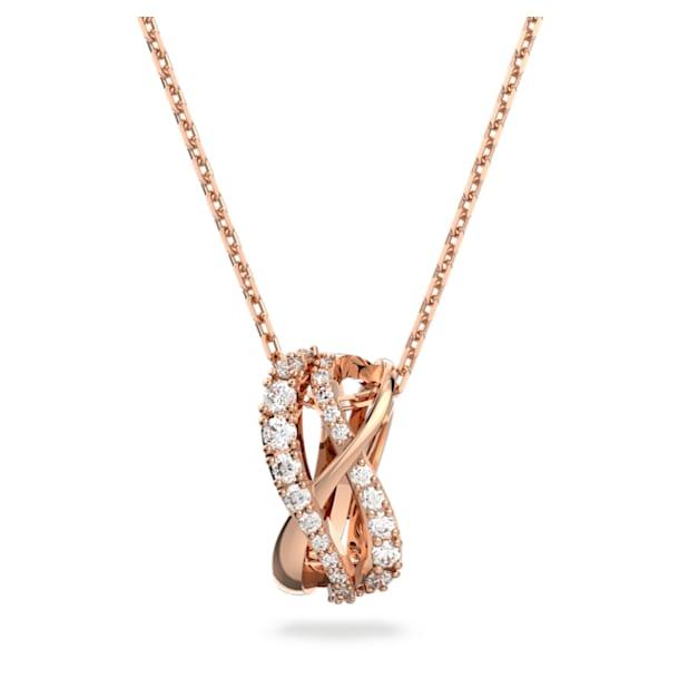 Náhrdelník Twist, Bílá, Pokoveno v růžovozlatém odstínu - Swarovski, 5620549