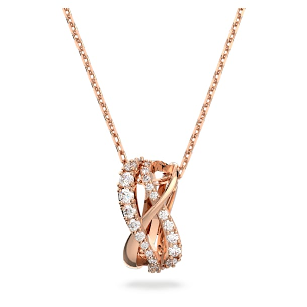 Naszyjnik Twist, Biały, Powłoka w odcieniu różowego złota - Swarovski, 5620549