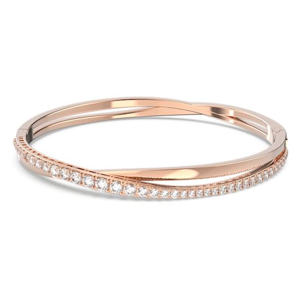 Braccialetto Twist, Bianco, Placcato color oro rosa - Swarovski, 5620552