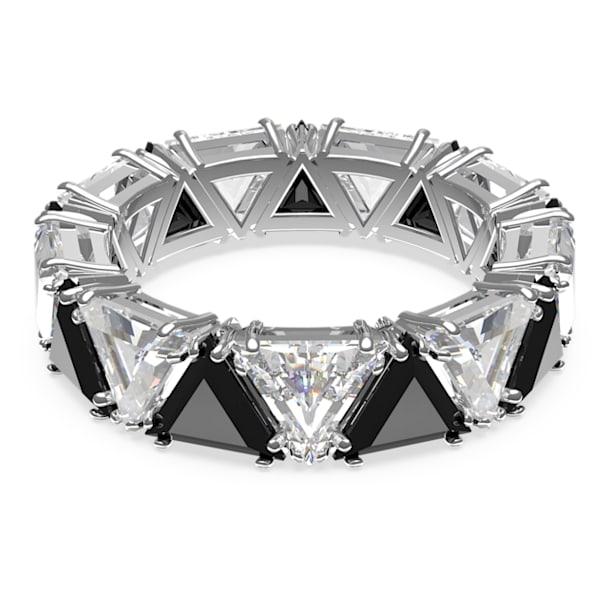 Millenia cocktail ring, Triangle cut crystals, Black, Rhodium plated - Swarovski, 5620672