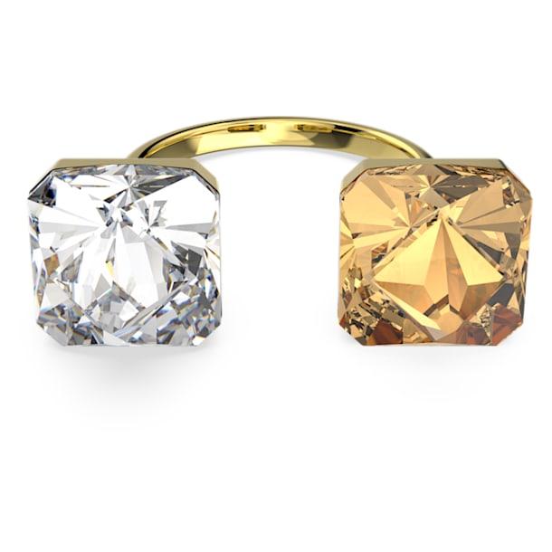 Chroma ring, Pyramid cut crystals, Multicolored, Gold-tone plated - Swarovski, 5620720