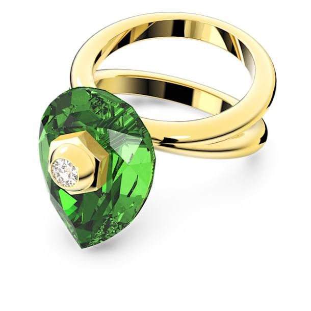 Numina ring, Pear cut crystal, Green, Gold-tone plated - Swarovski, 5620765