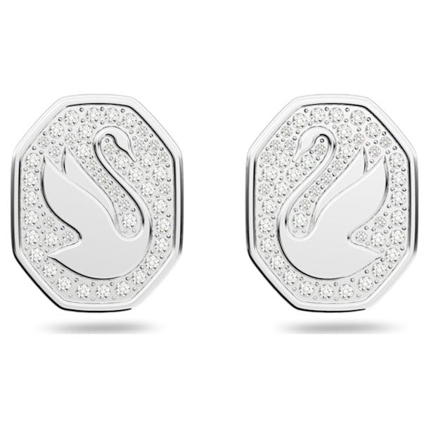 Pendientes de botón Signum, Cisne, Blanco, Baño de rodio - Swarovski, 5621097