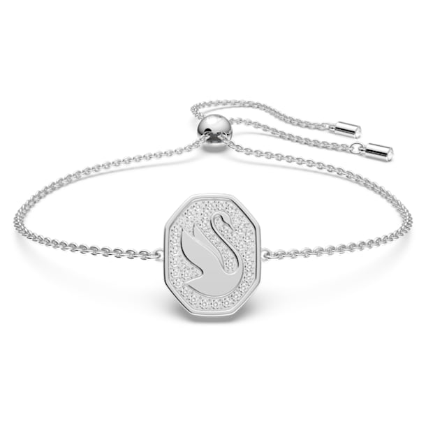 Signum bracelet, Swan, White, Rhodium plated - Swarovski, 5621099