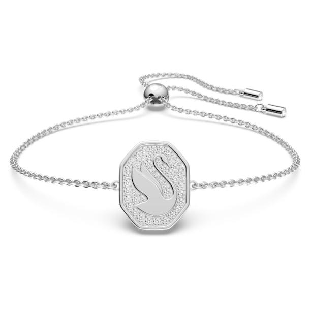 Signum armband, Swan, Wit, Rodium toplaag - Swarovski, 5621099