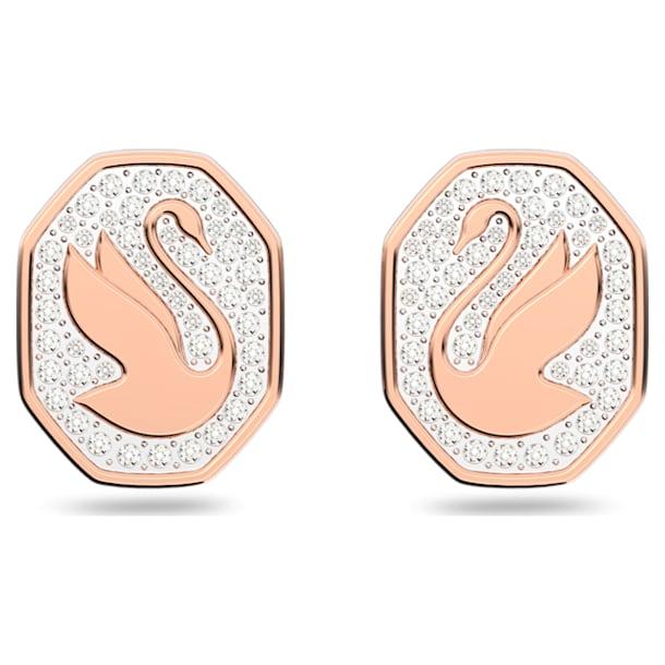 Signum 耳釘, 天鵝, 白色, 鍍玫瑰金色調 - Swarovski, 5621105