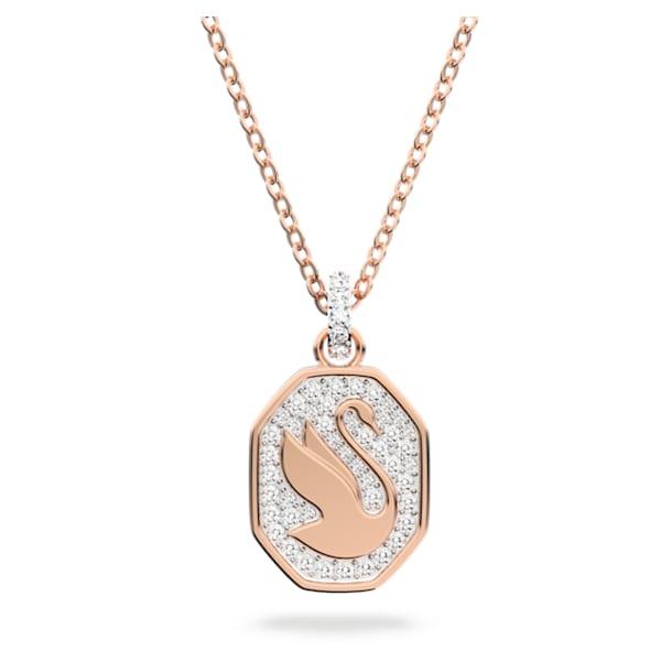 Μενταγιόν Signum, Κύκνος, Λευκό, Επιμετάλλωση σε ροζ χρυσαφί τόνο - Swarovski, 5621106