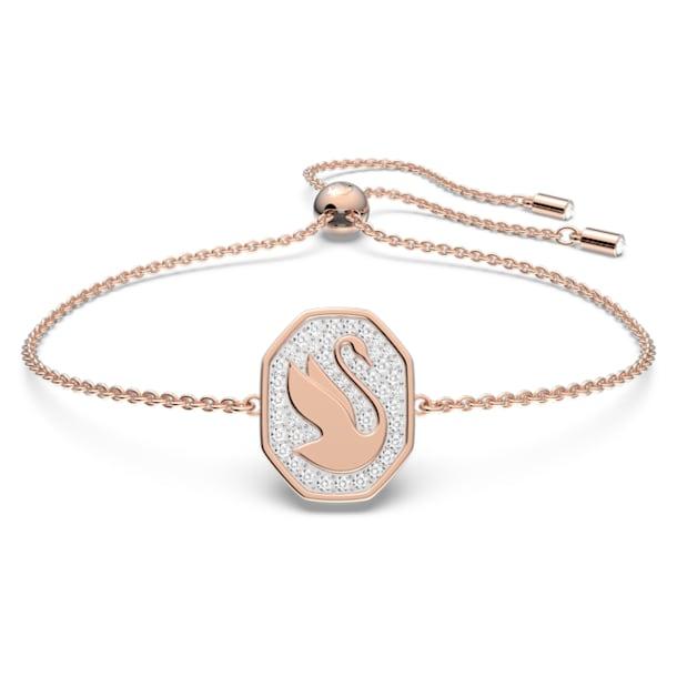 Bracelet Signum, Cygne, Blanc, Placage de ton or rosé - Swarovski, 5621107