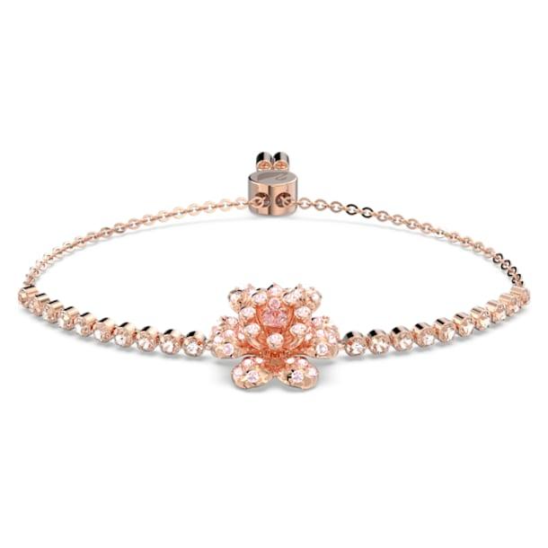 心相莲 半网球手链, 粉红色, 镀玫瑰金色调 - Swarovski, 5621144