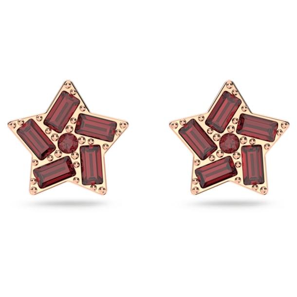 Stella stud earrings, Star, Red, Rose-gold tone plated - Swarovski, 5622153